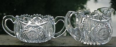 Antique American Brilliant  Hand Carved Creamer and Sugar Bowl Gorgeous Pieces