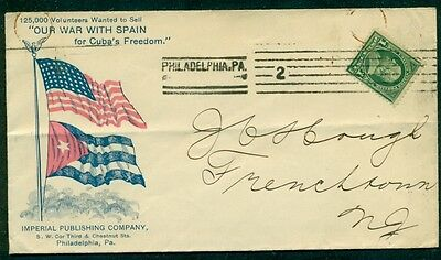 """1898, Spanish American War Patriotic cover, 2 diff flags, """"Our War with Spain"""""""