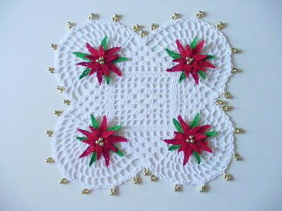 New Hand Crocheted Square Poinsettia Doily with Beads