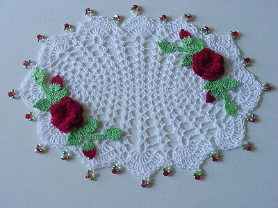 New Hand Crocheted Oval Cardinal Red Rose Doily with Beads
