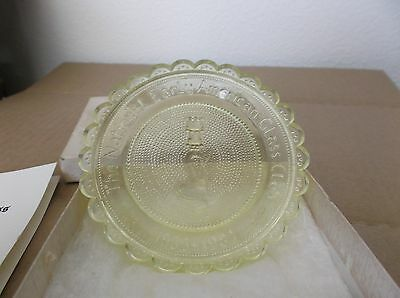 Pairpoint Vaseline Glass Cup Plate, Limited Edition, 50th Anniv NEAGC 1933-1983