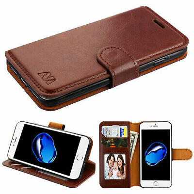 BROWN Leather Wallet Case Flip Folio Pouch Stand Cover for Apple iPhone 6s/6