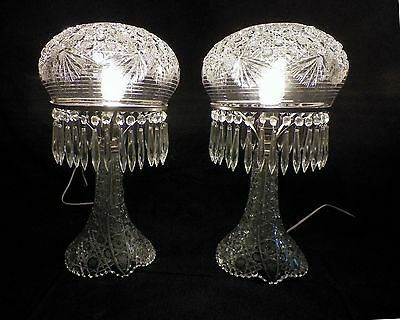 """PAIR ANTIQUE AMERICAN BRILLIANT STYLE PRESS GLASS DOME LAMPS 18"""" TALL 32 PRISMS"""