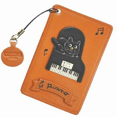 Cat on the Piano Handmade Leather Commuter ID Pass Card Holder *VANCA* #26431