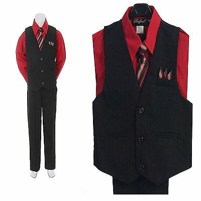 New 4PC Red Black Boys Vest Set Wedding Party Boys Formal Suit Boys Outfit