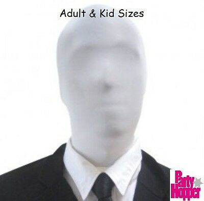 White Hood Mask, Second 2nd Skin, Fancy dress Costume, Halloween, Slenderman