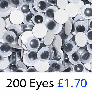 Wiggly Googly Eyes 8mm Black Pack of 200 OR 500. Self Adhesive.