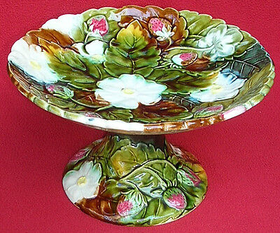 Antique French Majolica Strawberry High Comport Orchies 1880