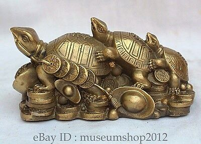 China Chinese Brass Pure Fengshui 3 Dragon turtle Yuanbao Cion wealth Statue  Y
