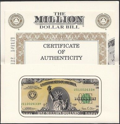 Authentic I.A.M. One 1 Million United States U.S.A (USA) Dollars Banknote, 1988