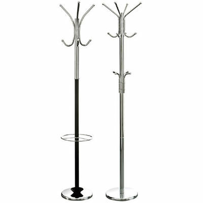 Black Chrome Floor Standing Coat Clothes Hat Umberalla Holder Stand New