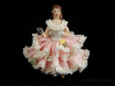 ANTIQUE DRESDEN GERMANY LACE GIRL LADY BALLERINA DANCER SITTING WITH FAN MINT