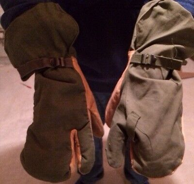 Army Military Surplus Trigger Finger Winter Leather Mittens Gloves