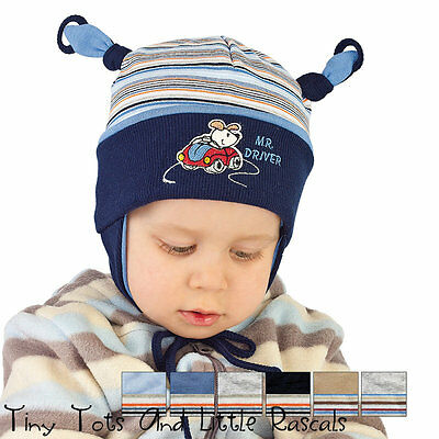Boys Toddler Spring Autumn Cotton Elastic Blue Hat Size 9 - 24 mths 1 - 2 Years