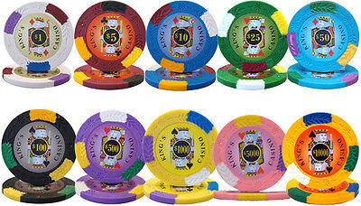 New Bulk Lot of 1000 Kings Casino 14g Clay Poker Chips - Pick Denominations!