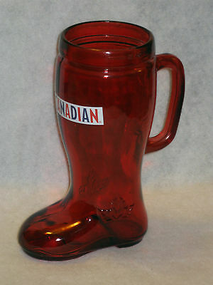 Molson Canadian Ruby Red Glass Boot Beer Mug - Stein