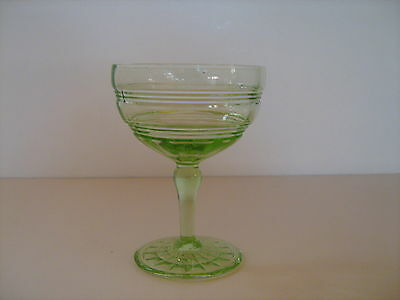 Hocking Green Ringed Champagne or Tall Sherbet