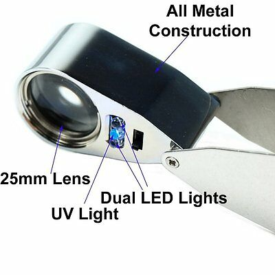 40X25mm Metal Cover Jewellers Loupe Eye Hand Magnifier Glass Lens Magnifying LED
