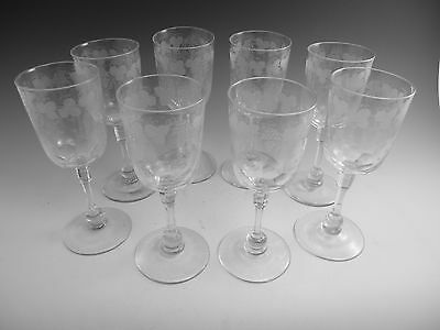 ANTIQUE WINE Glass / Glasses - Set of 8 Fruiting Vine Pattern (B) - Powell