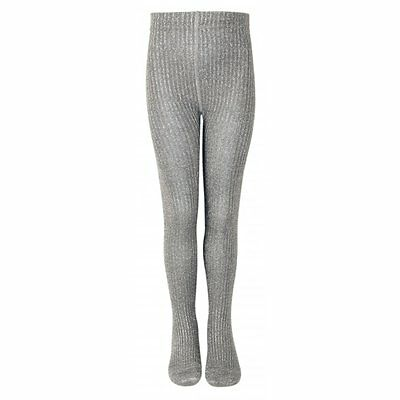 Melton Tights Classic Mary Rib 130 Frost Grey, Glitter & shine with these tights