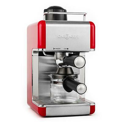 New Espresso Coffee Machine 800W Stainless Steel - Red * Free P&p Uk Offer *