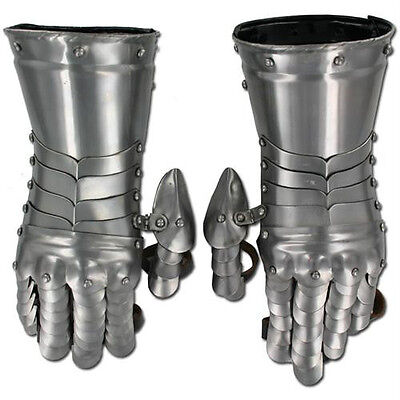 Medieval Knight Gauntlets Functional Armor Gloves Adult Leather Steel SCA LARP