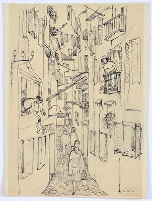 """Hedi Schick (1906-1999) """"In Venice"""", ink drawing, 1930s"""