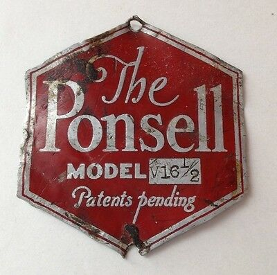 Estate Metal Label THE PONSELL MODEL V16.5 Floor Cleaning appliance as shown