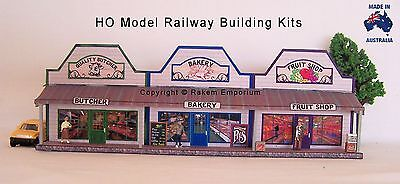 HO Scale Country Butcher Bakery Fruit Shops - Model Railway Building Kit - CRS3a