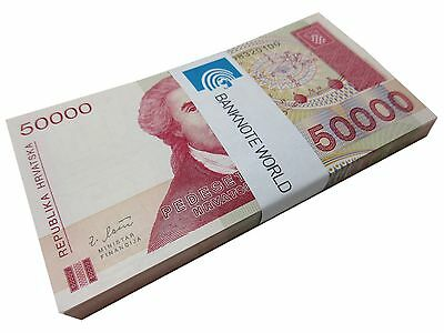 Croatia 50,000 (50000) Dinara X 100 Pieces (PCS), 1993, P-26, UNC, Bundle, Pack