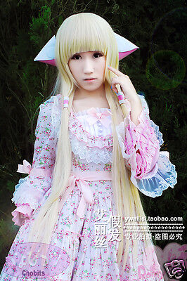 Chobits Chii Blonde Light Gold Straight 100CM Anime Cosplay Wig +Ears +Wig CAP