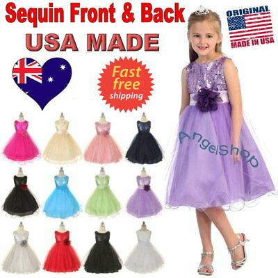 Sequin Girls Dress Flower Girl Dress Bridesmaid Birthday Party Dress Size 1 to14