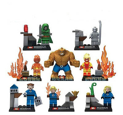 8 Sets Minifigures Invisible Woman Mr. Fantastic Human Torch Building Toys NEW