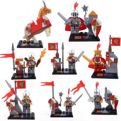 8 Sets Toy Minifigures Castle Knight Soldiers Mage Red Lions Legion Kid's Toys