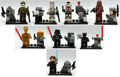 8 Sets Minifigures STAR WARS Series Building Toy Chewbacca C3PO Blocks Toys