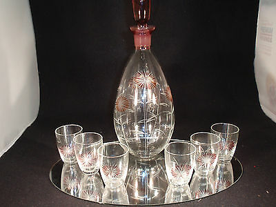 Vintage Etched Glass Cordial Set with Decanter - Dandelion / Thistle - with Red