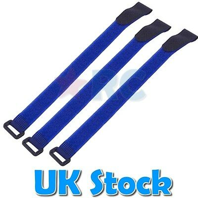 3 x Blue Lipo Battery Pack Straps - RC Planes - Velcro Battery Holder - NiCd