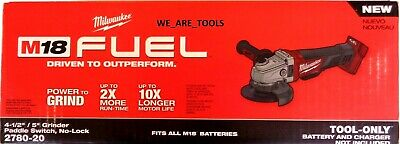 """New M18 Milwaukee FUEL 2780-20 Cordless Battery Grinder 4 1/2, 5"""",Paddle 18 Volt"""