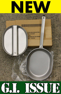 NEW GENUINE US MILITARY SURPLUS MESS KIT COOKWARE ARMY GI BACKPACKING STAINLESS