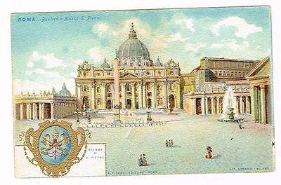 Vintage Postcard Italy 1900 ca. ROMA ROME ST PETER CATHEDRAL S PIETRO CATTEDRAL