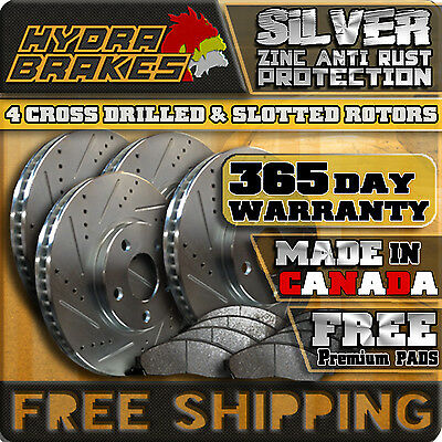 [FRONT + REAR KIT] 4 PERFORMANCE DRILLED SLOTTED BRAKE ROTORS AND 8 BRAKE PADS