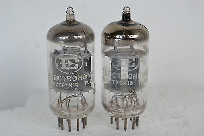 2 MATCHING VINTAGE PHILIPS ELECTROHOME 12AX7 TUBES, TESTED STRONG