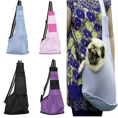 Dog Cat Carry Sling Cool Mesh Adjustable XS S M  - Travel Anxiety Bonding Pet