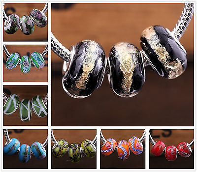 10pcs Round Lampwork Glass Murano Big Hole Beads Fit European Charms Blacelet