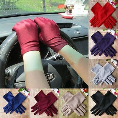 Ladies Short Satin Gloves Opera Party Costume Wedding Bridal Prom Driving Fancy