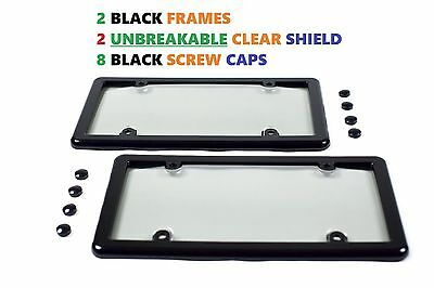 2 Universal UNBREAKABLE Clear License Plate Shield Covers + 2 Black Frames