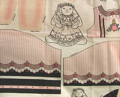 """Craft Panel Daisy Kingdom """"Veronica Louise"""" Bunny Dressed in Pink Stripes/Black"""