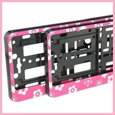 2 x FLOWERS EFFECT NUMBER PLATE HOLDER SURROUND FOR ANY CAR