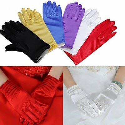 Elegant Ladies Short Stain Gloves for Prom Wedding Evening Party Pageant Dance