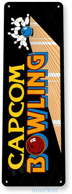TIN SIGN Capcom Bowling Arcade Shop Game Room Marquee Console Décor A270